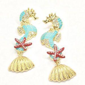 Jewelry - Enamel Seahorse Earrings with Rhinestones